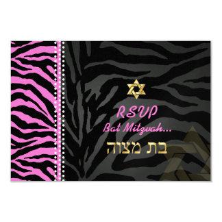 PixDezines rsvp Pink Zebra Stripes, Bat Mitzvah 3.5x5 Paper Invitation Card