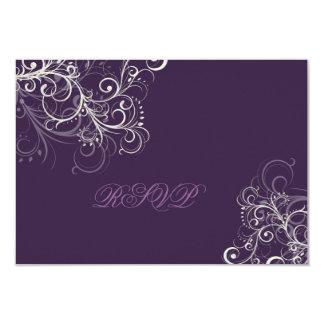 PixDezines rsvp plum+pearl swirls 3.5x5 Paper Invitation Card
