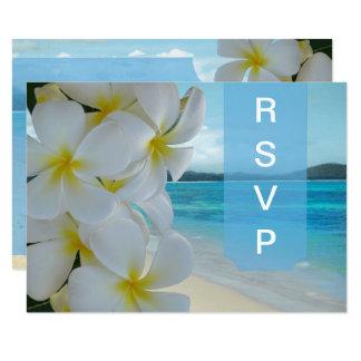 PixDezines RSVP PLUMERIA LEI/BEACH Card