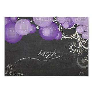 PixDezines rsvp purple lanterns+chalkboard Card
