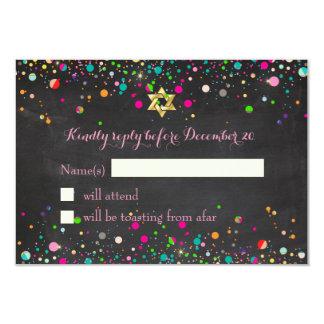 PixDezines Rsvp/Rainbow Confetti/Mitzvah 3.5x5 Paper Invitation Card