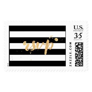 PixDezines RSVP rayas ajustables negras/del blanco Timbre Postal