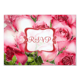PixDezines rsvp red roses/watercolor affect Card