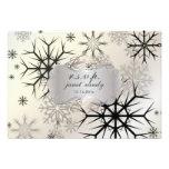 PixDezines rsvp Snowflakes, Black, Winter Wedding Custom Invitations