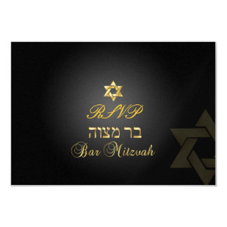 PixDezines rsvp Star, Bar Mitzvah/black+gold Card