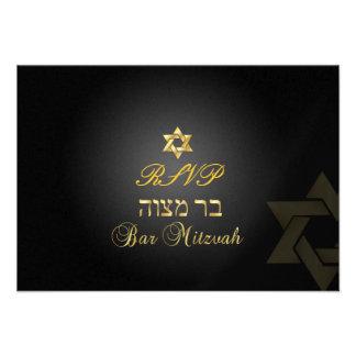 PixDezines rsvp Star, Bar Mitzvah/black+gold Invitation