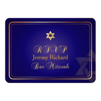 PixDezines rsvp Star, Bar Mitzvah/navy blue+gold Card