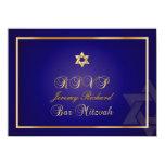 PixDezines rsvp Star, Bar Mitzvah/navy blue+gold 4.5x6.25 Paper Invitation Card
