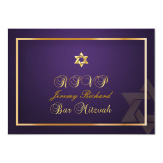 PixDezines rsvp Star, Bar Mitzvah/plum+gold Card