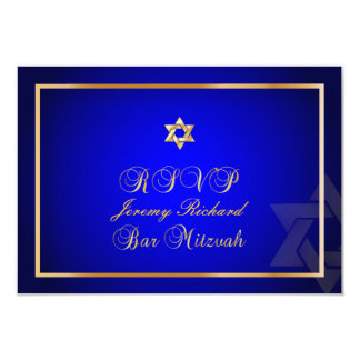 PixDezines rsvp Star, Bar Mitzvah/royal blue+gold Card