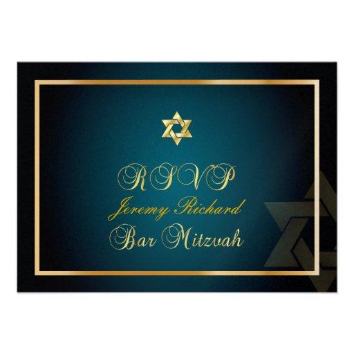 PixDezines rsvp Star, Bar Mitzvah/teal+gold Custom Invitation