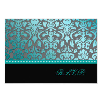 PixDezines rsvp teal flora damask/diy background Card
