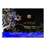 PixDezines rsvp tree of life+stars, Bar Mitzvah 3.5x5 Paper Invitation Card
