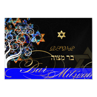 "PixDezines rsvp tree of life+stars, Bar Mitzvah 3.5"" X 5"" Invitation Card"
