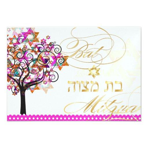 PixDezines rsvp tree of life/Stars, Bat Mitzvah Announcements