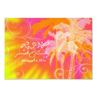 PixDezines rsvp tropical hula+swilrs/DIY color 3.5x5 Paper Invitation Card