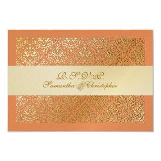 PixDezines rsvp vavin damask/diy tangerine color Card