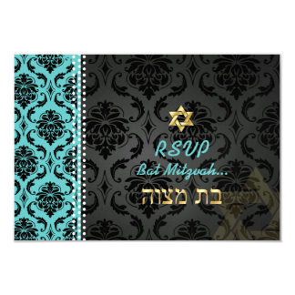 PixDezines rsvp Vendome Damask/DIY color/Mitzvah 3.5x5 Paper Invitation Card