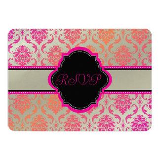 """PixDezines rsvp vendome damask/sherbet 5"""" X 7"""" Invitation Card"""