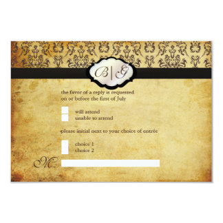 PixDezines rsvp Vintage Arianna Damask/Tobacco 3.5x5 Paper Invitation Card