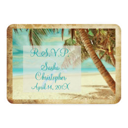 PixDezines rsvp vintage beach, tropical paradise Card
