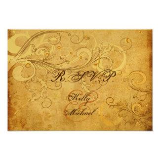 PixDezines rsvp vintage cream swirls Personalized Invitation