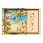 "PixDezines rsvp vintage hawaiian beach/cerulean 3.5"" X 5"" Invitation Card"