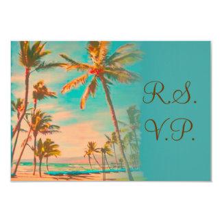 PixDezines rsvp vintage hawaiian beach/teal Custom Invites