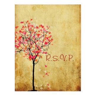PixDezines rsvp vintage maple tree/orange+pink Postcard
