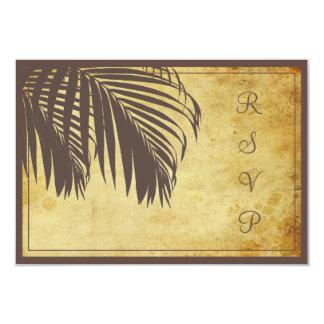 PixDezines rsvp Vintage Palm fronds/beach/brown Card