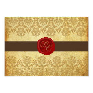 """PixDezines rsvp Vintage+Pique Lace Damask+Wax Seal 3.5"""" X 5"""" Invitation Card"""