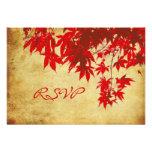 PixDezines rsvp Vintage Red Maple Leaves/fall Custom Invite