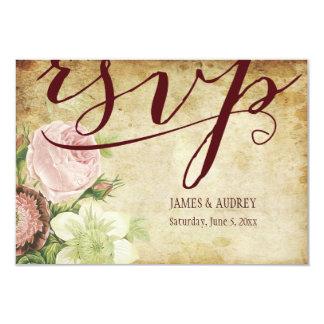PixDezines rsvp vintage roses/parchment Card