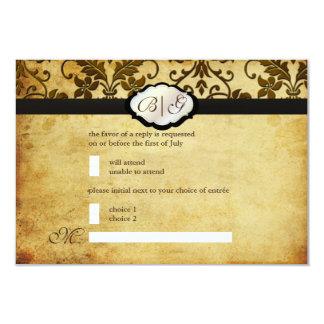 PixDezines rsvp Vintage Tanza Damask/Tobacco 3.5x5 Paper Invitation Card