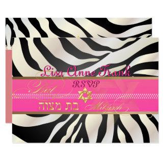 PixDezines rsvp Zebra, Bat Mitzvah/DIY color-black Card