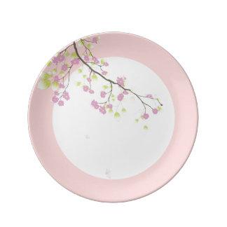 PixDezines sakura/pink/DIYbackground Porcelain Plates
