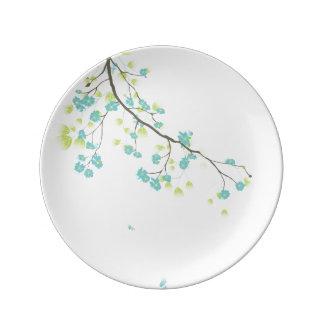 PixDezines sakura/teal/DIYbackground Porcelain Plates