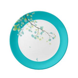 PixDezines sakura/teal/DIYbackground Porcelain Plate