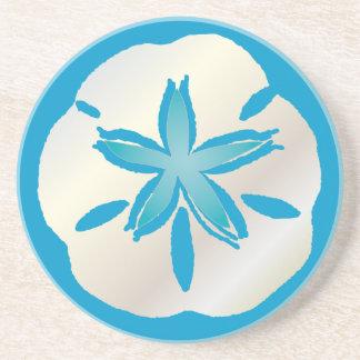PixDezines Sanddollar Starfish/natural+aquamarine Drink Coaster