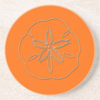 PixDezines Sanddollar Starfish/natural+orange Coaster
