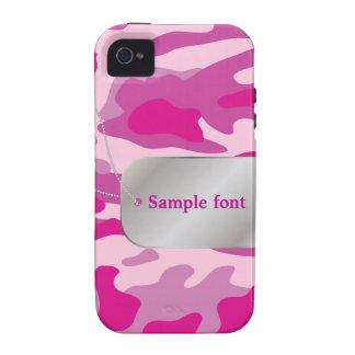 PixDezines Sassy Pink Camo+Dog+Tag iPhone 4/4S Case