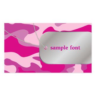 PixDezines Sassy Pink Camo+Dog Tags Business Card Template