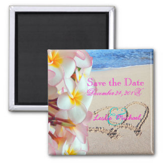 PixDezines Save Date, Beach+Pink Plumeria+Hearts 2 Inch Square Magnet