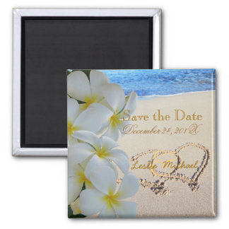 PixDezines Save Date, Beach+Plumeria+Hearts 2 Inch Square Magnet