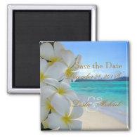 PixDezines Save Date, Beach Plumeria Lei Fridge Magnet