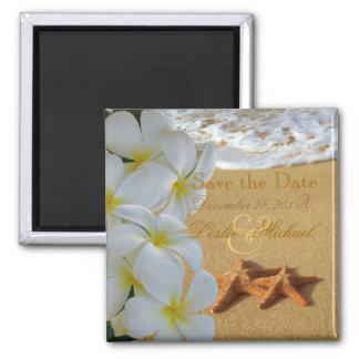 PixDezines Save Date, Beach+Plumeria+Starfish 2 Inch Square Magnet