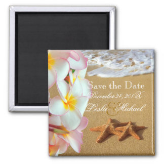 PixDezines Save Date, beach+plumeria+starfish Magnet