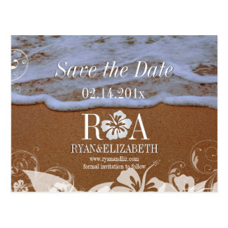 PixDezines save date beach+waves Post Card