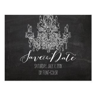 PixDezines/Save Date/chalkboard/Chandelier Postcard