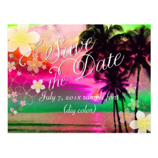 PixDezines/save date/hula dream/fantasy sunset Postcard